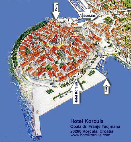 Location of Hotel Korcula