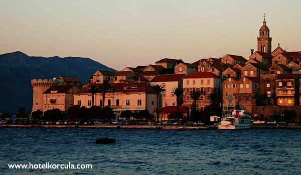 Hotel Korcula in sunset