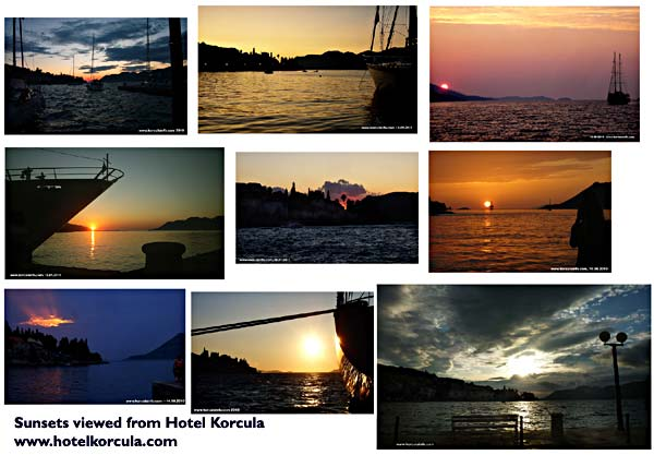 sunsets veiwed from Hotel Korcula De La Ville